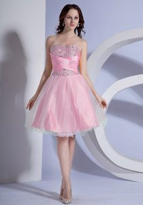 Ruched Sweetheart Knee-length Baby Pink Night Club Dress with Beading for Cheap