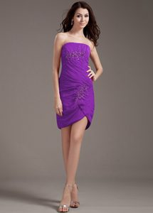 Strapless Mini-length Purple Ruched Chiffon Night Club Dress with Beading for Less
