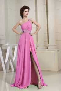 Hot Pink One-shoulder Brush Train Ruched Beaded Chiffon Night Club Dress with Slit