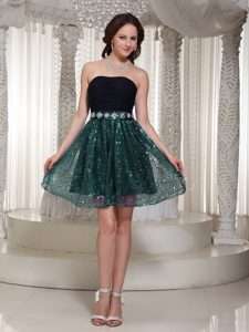 Sexy Strapless Mini-length Black Chiffon and Teal Sequin Beaded Night Club Dresses