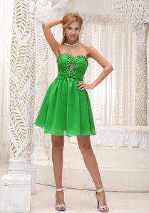 Ruched Beaded Sweetheart Mini-length Spring Green Night Club Dresses with Cutout