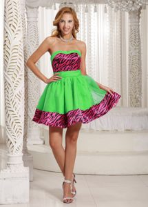 Latest Strapless Mini-length Spring Green and Zebra Night Club Dress on Promotion