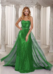 Spring Green Sweetheart Brush Train Sequin and Chiffon Night Club Dress for Cheap