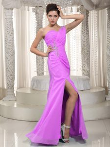 Ruched One-shoulder Long Hot Pink Chiffon Night Club Dress with Appliques