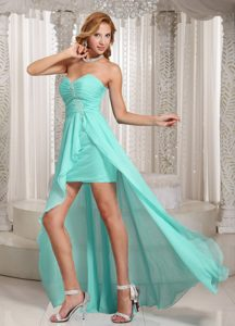 Aqua Blue Sweetheart Ruched Chiffon Night Club Dress with Appliques and High Slit