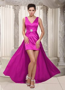 Newest Fuchsia V-neck Straps High-low Column Dress for Night Club on Promotion