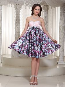 Sweetheart Knee-length Special Printed Night Club Dress with Beading and Ruching