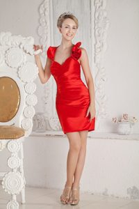 Sweet Halter Ruched Short Prom Dresses for Nightclub in Red