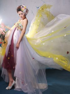 2013 Multi-color High-low Chiffon Memorable Prom Dresses for Nightclub