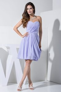 Attractive Lilac Sweetheart Chiffon Prom Dress for Nightclub with Pick-ups
