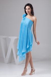 Asymmetrical Aqua Blue Chiffon 2013 Best Seller Nightclub Dress for Spring