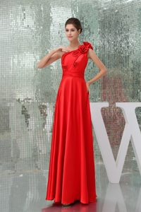Classical Long One Shoulder Red Nightclub Dress for Fall
