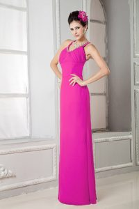 Wonderful Beaded and Ruched Fuchsia Scoop Nightclub Dress for Cocktail