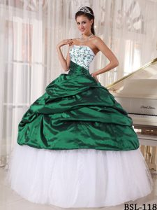 Sweet Strapless Dresses for Quinces and Tulle with Embroidery
