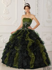 Important Olive and Black Strapless Quinces Dresses and