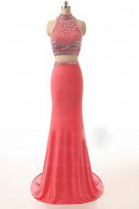 Sleeveless Satin Brush Train Backless Dress for Prom in Watermelon Red with Beading and Appliques and Belt