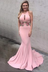 Simple Mermaid Pink Scoop Criss Cross Appliques Homecoming Dress Brush Train Sleeveless