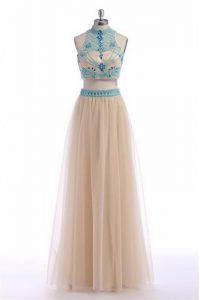 Trendy Champagne Empire Tulle High-neck Sleeveless Beading and Appliques and Belt Floor Length Zipper Prom Dresses