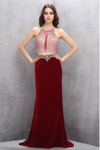 Fancy Scoop Burgundy Prom Evening Gown Chiffon Brush Train Sleeveless Beading and Appliques