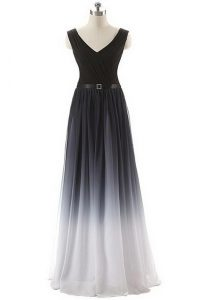 New Style Black V-neck Lace Up Belt Prom Gown Sleeveless