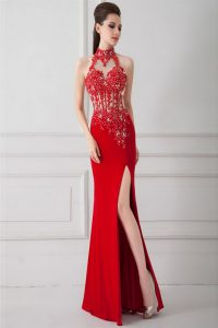 Red Zipper Prom Party Dress Beading and Appliques Sleeveless Floor Length