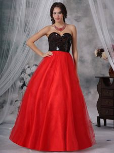 Sweetheart Long Princess Black Sequin and Red Tulle Pageant Party Dress