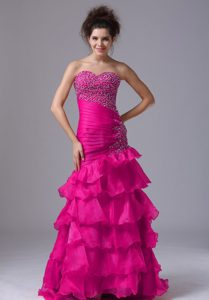 Wholesale Price Mermaid Sweetheart Pageant Dress in Coral Red