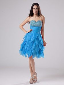 Beaded Sweetheart Teal Pageant Dress for Ladies with Ruffles and Beading