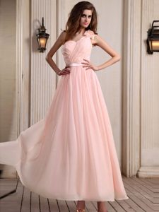 Baby Pink One Shoulder Chiffon Ladies Formal Dress with Hand Made Flower