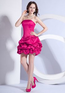 Cute A-line Mini-length Strapless Coral Red Glitz Pageant Dress with Beading