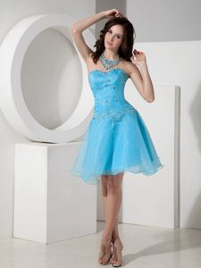 Customize Baby Blue A-line Sweetheart Beaded Girl Pageant Dress