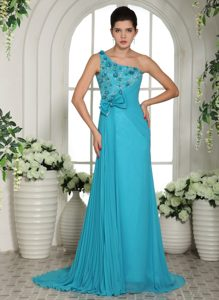 Baby Blue One Shoulder Pageant Dresses with Handle Flowers and Ruche