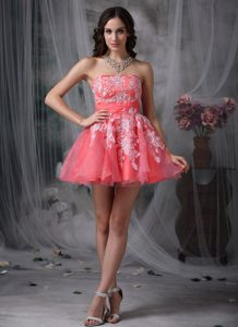 Watermelon Strapless Mini-length Appliqued Girl Pageant Dresses