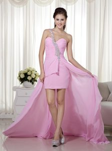 Best Pink Column One Shoulder High-low Beaded Pageant Dress