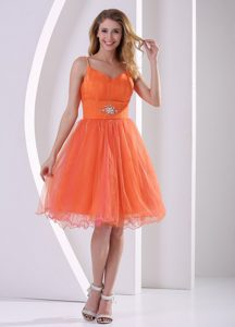 Orange Red Spaghetti Straps Beauty Pageants Dress with Beading and Ruche