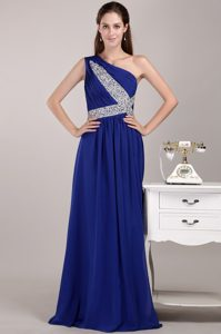 One Shoulder Long Chiffon Sweet Prom Pageant Dresses in Blue