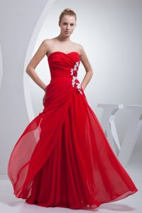 Red Ruched Long Chiffon Zipper-up Popular Pageant Dress for Miss USA