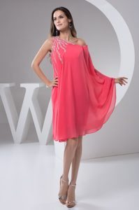 One Shoulder Beaded Watermelon Chiffon 2013 Discount Dress for Pageants
