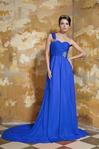 Royal Blue Empire One Shoulder Beaded Pageant Dresses with Watteau Train