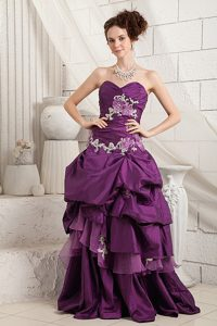New Eggplant Purple Sweetheart Pageant Dress with Appliques and Brush Train