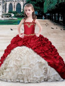 Straps Pick Ups White and Wine Red Sleeveless Organza and Taffeta Lace Up Pageant Dress Wholesale for Quinceanera and Wedding Party