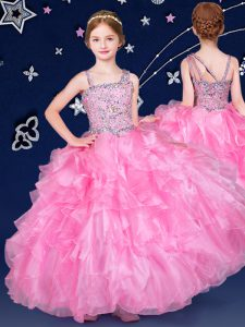 Perfect Beading and Ruffles Winning Pageant Gowns Rose Pink Zipper Sleeveless Floor Length