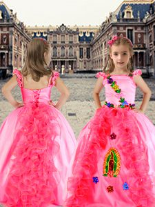 On Sale Organza and Taffeta Cap Sleeves Floor Length Kids Formal Wear and Beading and Appliques and Ruffles