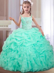 Best Straps Sleeveless Beading and Ruffles and Pick Ups Lace Up Child Pageant Dress