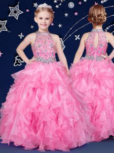 Halter Top Rose Pink Sleeveless Beading and Ruffles Floor Length Winning Pageant Gowns