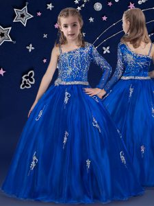 Royal Blue Sleeveless Organza Zipper Little Girls Pageant Gowns for Quinceanera and Wedding Party
