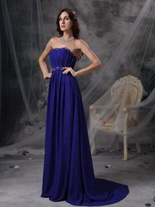 Discount Blue Empire Strapless Party Dress for Prom with Beading and Ruche