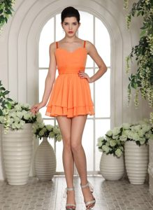 Inexpensive Cute Orange Chiffon Straps Evening Party Dresses to Mini-length