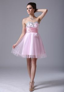 Tulle Sweetheart Long Pink 2013Party Dress for Birthday with Beading