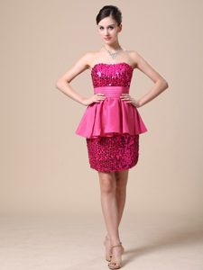 Pretty Strapless Party Dresses for Prom in Hot Pink with Paillette and Sequins